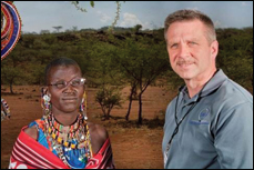 Ellisor poses with a Masai patient he treated on a mission trip to Kenya.